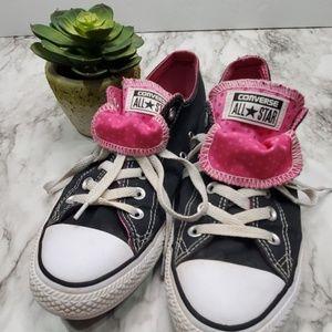 Black & Pink Polka Dot Converse Sneakers size 9